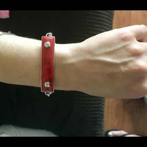 Jewelry - Silver with Coral & Topaz Toggle Bracelet